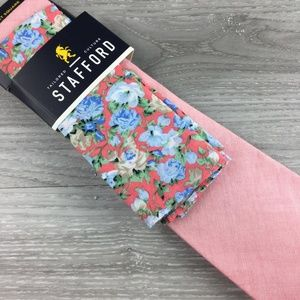 Stafford Pink Tie with Floral Pocket Square